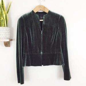 Akris Green Velvet Peplum Blazer Jacket 10